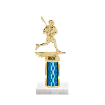 "8"" Lacrosse Trophy with Lacrosse Figurine, 3"" colored column and marble base."