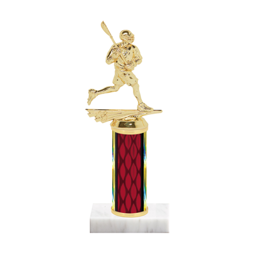 "9"" Lacrosse Trophy with Lacrosse Figurine, 4"" colored column and marble base."