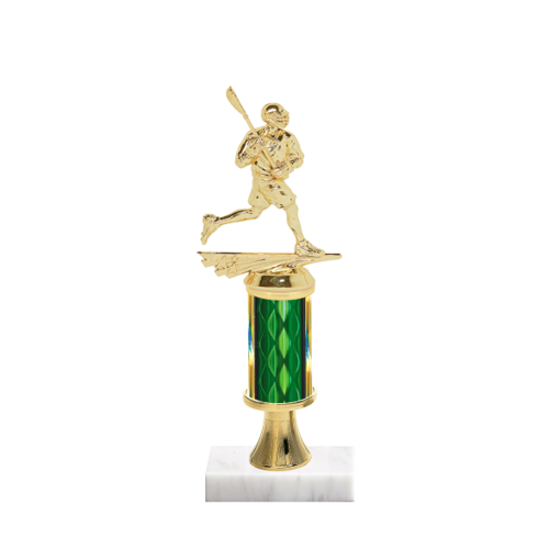 "11"" Lacrosse Trophy with Lacrosse Figurine, 3"" colored column, gold riser and marble base."