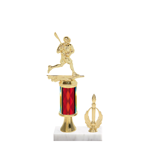 "11"" Lacrosse Trophy with Lacrosse Figurine, 3"" colored column, gold riser, side trim and marble base."