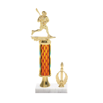"13"" Lacrosse Trophy with Lacrosse Figurine, 5"" colored column, gold riser, side trim and marble base."