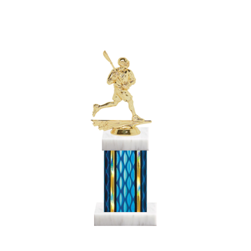 "11"" Lacrosse Trophy with Lacrosse Figurine, 4"" colored column and marble base."
