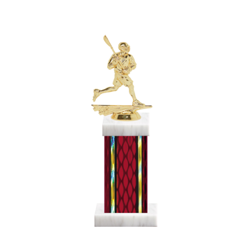 "12"" Lacrosse Trophy with Lacrosse Figurine, 5"" colored column and marble base."