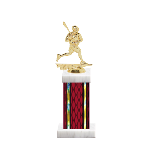 """12"""" Lacrosse Trophy with Lacrosse Figurine, 5"""" colored column and marble base."""