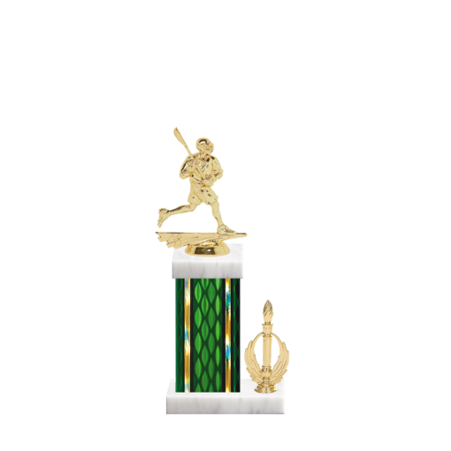 "13"" Lacrosse Trophy with Lacrosse Figurine, 5"" colored column, side trim and marble base."