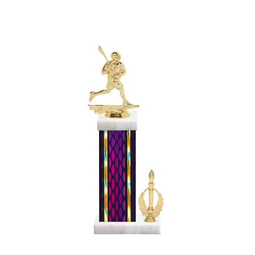 """14"""" Lacrosse Trophy with Lacrosse Figurine, 6"""" colored column, side trim and marble base."""