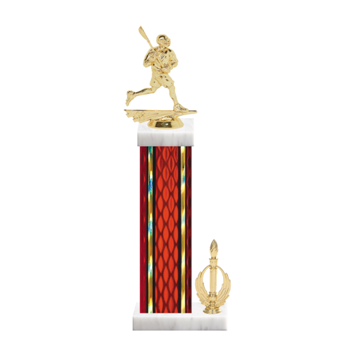 "15"" Lacrosse Trophy with Lacrosse Figurine, 7"" colored column, side trim and marble base."
