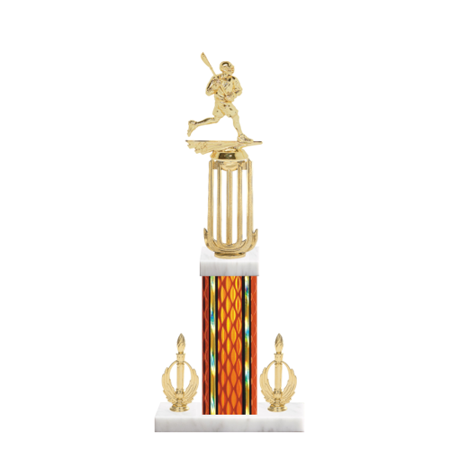 "18"" Lacrosse Trophy with Lacrosse Figurine, 7"" colored column, double side trim and marble base."
