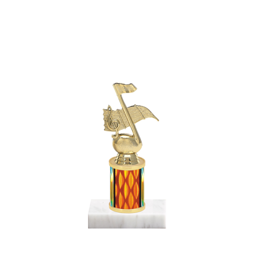 "7"" Music Trophy with Music Figurine, 2"" colored column and marble base."