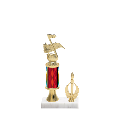"11"" Music Trophy with Music Figurine, 3"" colored column, gold riser, side trim and marble base."