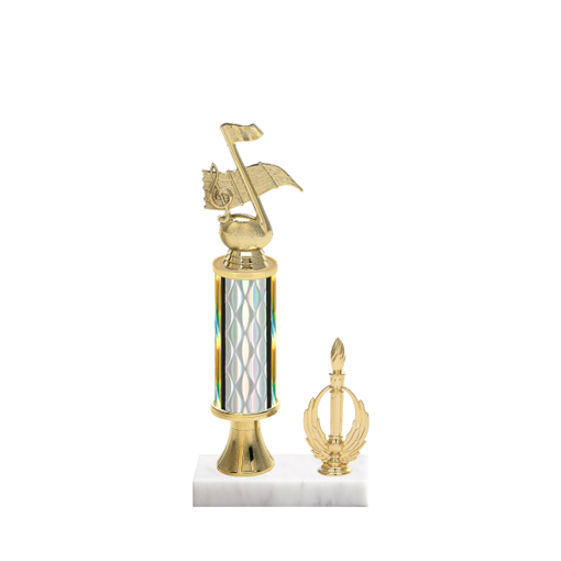 "12"" Music Trophy with Music Figurine, 4"" colored column, gold riser, side trim and marble base."