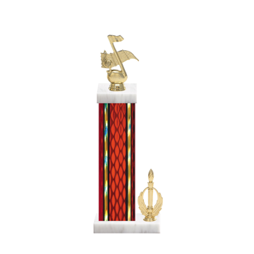 """15"""" Music Trophy with Music Figurine, 7"""" colored column, side trim and marble base."""