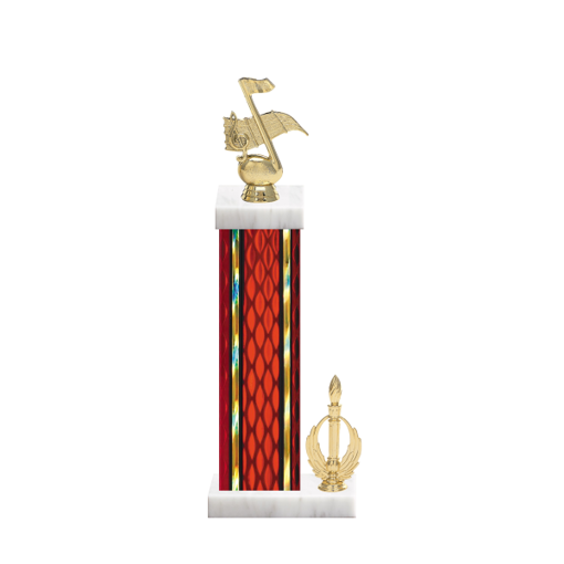"15"" Music Trophy with Music Figurine, 7"" colored column, side trim and marble base."