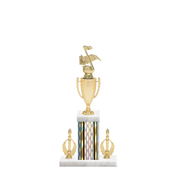 """16"""" Music Trophy with Music Figurine, 5"""" colored column, double side trim and marble base."""