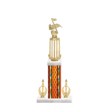 """18"""" Music Trophy with Music Figurine, 7"""" colored column, double side trim and marble base."""