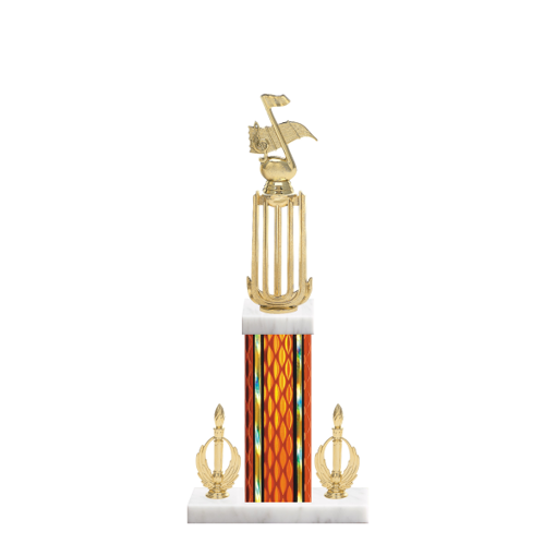 "18"" Music Trophy with Music Figurine, 7"" colored column, double side trim and marble base."