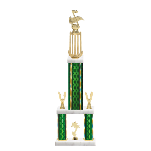 """26"""" Multi-Tier Music Trophy with Music Figurine, 9"""" colored top column, 5"""" colored bottom columns, cup riser, double side trim and center base trim."""