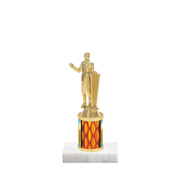 "7"" Public Speaking Trophy with Public Speaking Figurine, 2"" colored column and marble base."