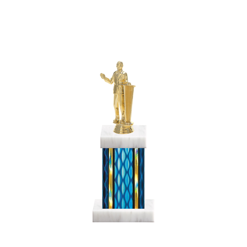 "11"" Public Speaking Trophy with Public Speaking Figurine, 4"" colored column and marble base."