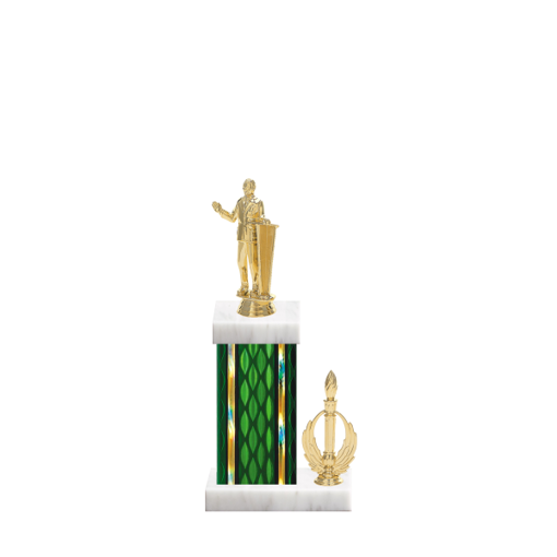 "13"" Public Speaking Trophy with Public Speaking Figurine, 5"" colored column, side trim and marble base."