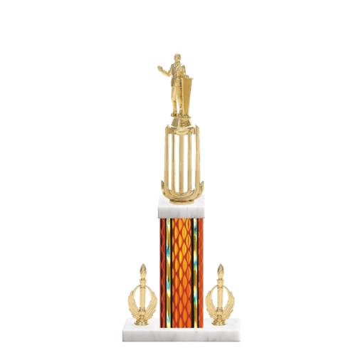 "18"" Public Speaking Trophy with Public Speaking Figurine, 7"" colored column, double side trim and marble base."