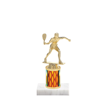 "7"" Racquetball Trophy with Racquetball Figurine, 2"" colored column and marble base."