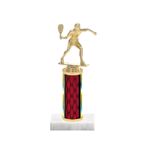 "9"" Racquetball Trophy with Racquetball Figurine, 4"" colored column and marble base."