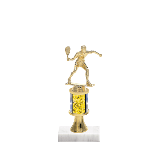 """10"""" Racquetball Trophy with Racquetball Figurine, 2"""" colored column, gold riser and marble base."""