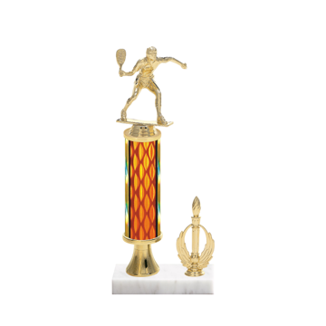 "13"" Racquetball Trophy with Racquetball Figurine, 5"" colored column, gold riser, side trim and marble base."