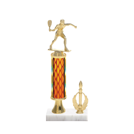 """13"""" Racquetball Trophy with Racquetball Figurine, 5"""" colored column, gold riser, side trim and marble base."""