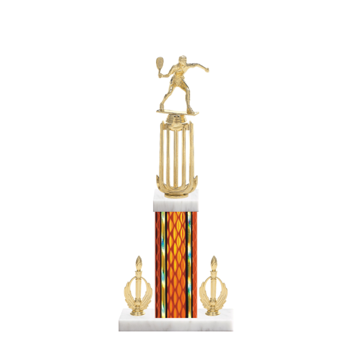"18"" Racquetball Trophy with Racquetball Figurine, 7"" colored column, double side trim and marble base."