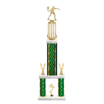 "26"" Multi-Tier Racquetball Trophy with Racquetball Figurine, 9"" colored top column, 5"" colored bottom columns, cup riser, double side trim and center base trim."
