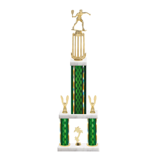"""26"""" Multi-Tier Racquetball Trophy with Racquetball Figurine, 9"""" colored top column, 5"""" colored bottom columns, cup riser, double side trim and center base trim."""