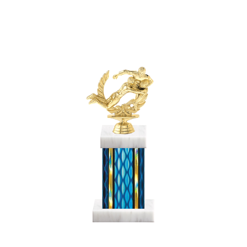 """11"""" Rugby Trophy with Rugby Figurine, 4"""" colored column and marble base."""