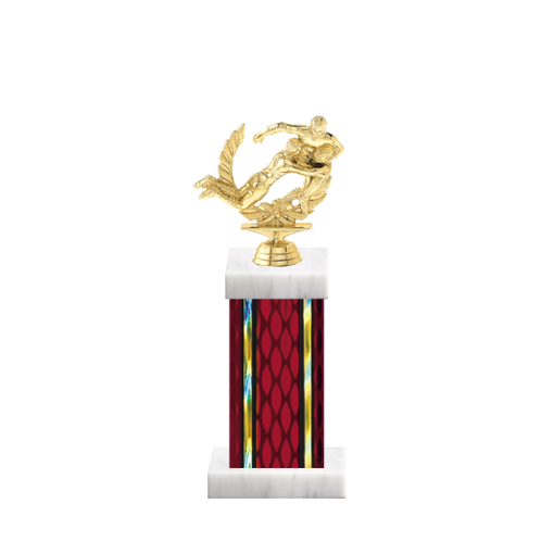 """12"""" Rugby Trophy with Rugby Figurine, 5"""" colored column and marble base."""