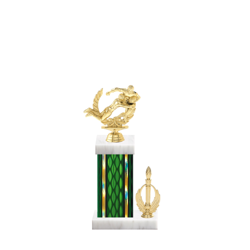 """13"""" Rugby Trophy with Rugby Figurine, 5"""" colored column, side trim and marble base."""