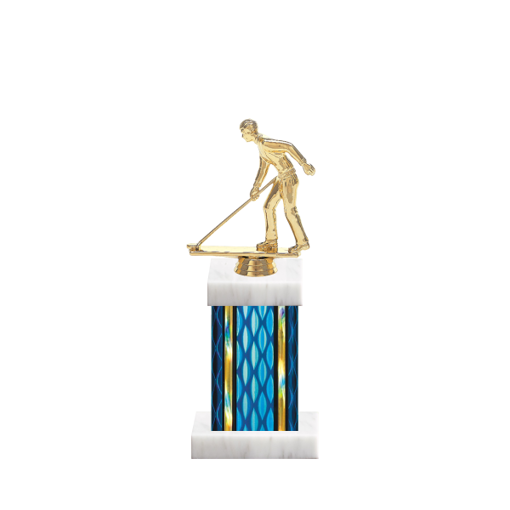 "11"" Shuffleboard Trophy with Shuffleboard Figurine, 4"" colored column and marble base."