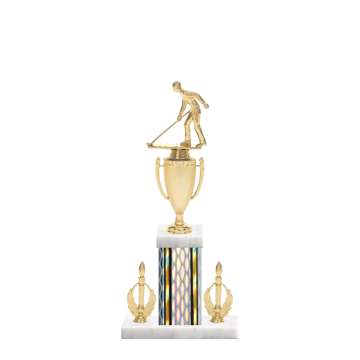 "16"" Shuffleboard Trophy with Shuffleboard Figurine, 5"" colored column, double side trim and marble base."