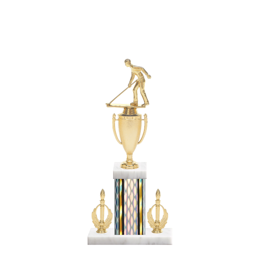 """16"""" Shuffleboard Trophy with Shuffleboard Figurine, 5"""" colored column, double side trim and marble base."""
