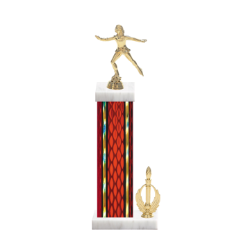 """15"""" Ice Skating   Roller Skating Trophy with Ice Skating   Roller Skating Figurine, 7"""" colored column, side trim and marble base."""