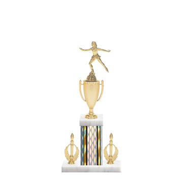 """16"""" Ice Skating   Roller Skating Trophy with Ice Skating   Roller Skating Figurine, 5"""" colored column, double side trim and marble base."""