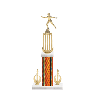 """18"""" Ice Skating   Roller Skating Trophy with Ice Skating   Roller Skating Figurine, 7"""" colored column, double side trim and marble base."""