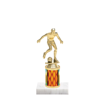 "7"" Soccer Trophy with Soccer Figurine, 2"" colored column and marble base."