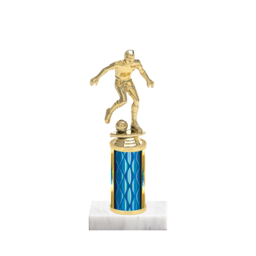 """8"""" Soccer Trophy with Soccer Figurine, 3"""" colored column and marble base."""