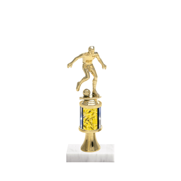 "10"" Soccer Trophy with Soccer Figurine, 2"" colored column, gold riser and marble base."