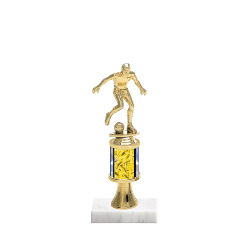 """10"""" Soccer Trophy with Soccer Figurine, 2"""" colored column, gold riser and marble base."""
