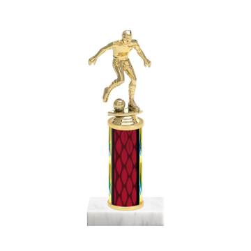 "9"" Soccer Trophy with Soccer Figurine, 4"" colored column and marble base."