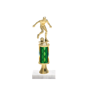 "11"" Soccer Trophy with Soccer Figurine, 3"" colored column, gold riser and marble base."