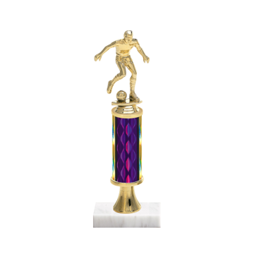 """12"""" Soccer Trophy with Soccer Figurine, 4"""" colored column, gold riser and marble base."""