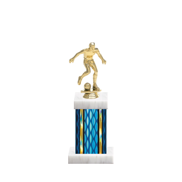 """11"""" Soccer Trophy with Soccer Figurine, 4"""" colored column and marble base."""